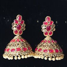 Pakistani Red Golden Jhumka Earings Jewellery, Indian Jhumki Earrings Jewelry