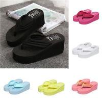 Women Stripes Flip Flops Platform High Heel Wedge Thong Sandals Shoes Slippers
