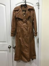 Women's Vintage Brown Leather Trench coat Sz 6-10