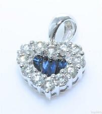 White Gold Sapphire Love Hearts Fine Necklaces & Pendants