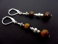 A PAIR OF TIGERS EYE BEAD  SILVER PLATED DANGLY LEVERBACK HOOK EARRINGS. NEW.