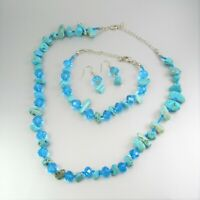 Turquoise Gemstone Crystal Beads Fabric Chain Metal Necklace Bracelet Earrings