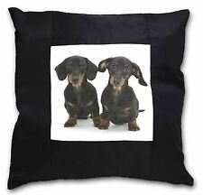 Two Cute Dachshund Dogs Black Border Satin Feel Cushion Cover With P, AD-DU2-CSB