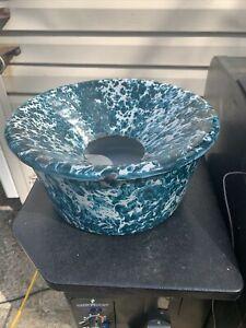 Vibrant Green & White Swirl spittoon Graniteware Enamel  Rare auction