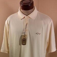 Greg Norman Tasso Elba Five Iron Play Dry Pale Yellow Polo Golf Shirt Size L