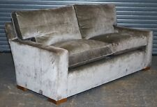 SILVERY VELVET SIGNATURE GEORGE SMITH FEATHER FILLED SQUARE ARM SOFA RRP 8,000