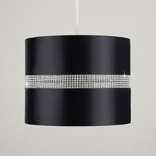Contemporary 25cm Black Ceiling Light Pedant Drum Shade With Diamante Strip Home