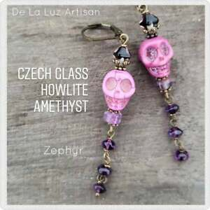 Amethyst Stone Skull Earrings Purple Dia De Muertos Chicana Amethyst Howlite