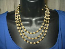 Vintage Crown Trifari necklace 3 strands Gold plated crystal beads RARE 1950's