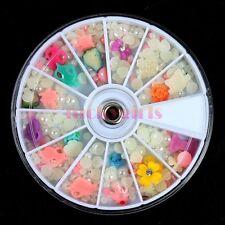 Nail Art Acrylic Gem Fimo Pearls Flower Slice Rhinestone Tips Decoration Wheel
