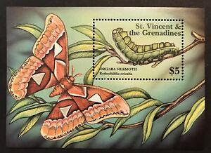 ST. VINCENT MOTHS SOUVENIR SHEET 2001 MNH CATERPILLAR BUTTERFLY STAMPS SILKMOTH