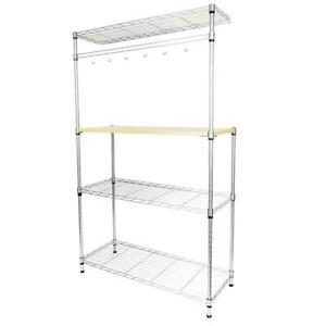 4 Tier Bakers Rack Kitchen Cart Microwave Stand Cutting Board Workstation UK