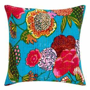 """New 16"""" Square Turquoise Multi Sofa Cushion Cover Handmade Kantha Pillow Covers"""