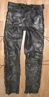 "Fat Men's Lace-Up Leather Jeans / Biker Trousers IN Black Approx. W30 "" / L32 """