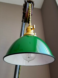 "Green Porcelain Enamel Shade: 7"" Industrial Dome, 2-1/4"" fitter, Metal Lampshade"
