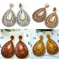 1 Pair Women Boho Jewelry Wooden Teardrop Earrings Hollow Drop Dangle Earring