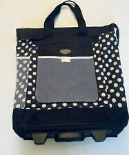 """Olympia 20"""" Rolling Travel Tote Bag Black & White Weekender Sport Beach Laundry"""