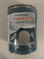 NEW Biddeford Heated Electric Warming Micro Plush Blue Throw Blanket