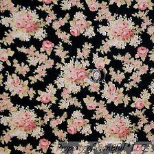 BonEful Fabric FQ Cotton Quilt VTG Black Pink Flower Rose Bud Calico Green Leaf