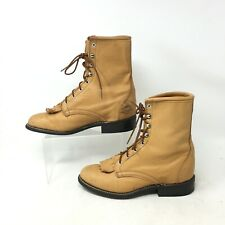 Laredo Western Packer Boots Mid Calf Lace Up Fringe Leather Tan Womens 6.5 M