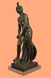 Western Art Deco Bronze Roman Man armour spear shield soldier warrior Artwork