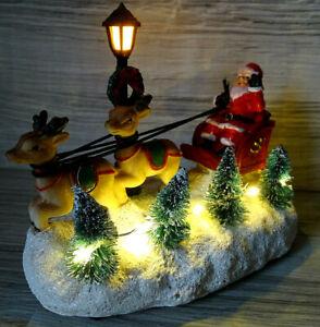 Winterszene LED beleuchtet--Weihnachtsmann m. Rentier Schlitten-f.Weihnachtsdorf