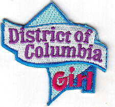 """DISTRICT OF COLUMBIA GIRL""- Iron On Embroidered Patch/State Shape/Words, Name,"