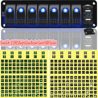 8 Gang Car Boat Marine Rocker Switch Panel Dual USB LED Circuit Breaker Voltage