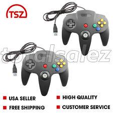 2 For Nintendo 64 N64 USB Black Controller JoyPad Remote Video Game System