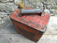 Vintage Red Metal Valor Fuel Petrol Can with Screw In Brass Bung - 1 Gallon
