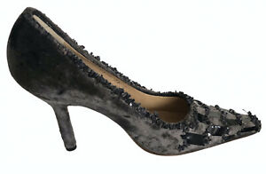 Tom Ford Gucci Runway 99 Grey Velvet Sequin Shoes Pumps Sz 36 Worn once