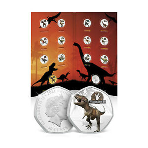 Dinosaur Gifts Limited Edition 50p Shaped Silver Plated Coins - 12 To Collect