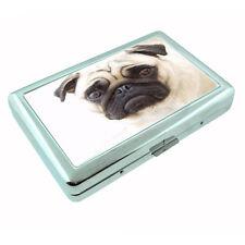 Dog pug cute Metal Silver Cigarette Case RFID Protection Metal Wallet