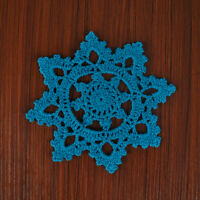 4Pcs/Lot Blue Vintage Lace Doilies Hand Crochet Cotton Doily Snowflake 6inch