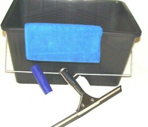 """4 Piece Window Cleaning Kit Bucket Squeegee Microfibre 10"""" Washers 12"""" Squeegee"""