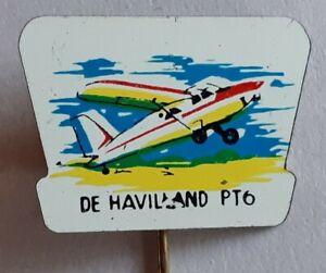 Original 1960's / 70's De Havilland PT6 Aeroplane Tin Plate Lapel Pin Badge