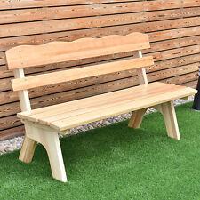 5 Ft 3 Seats Outdoor Wooden Garden Bench Chair Wood Frame Yard Deck Furniture
