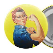 "Rosie the Riveter Large Badge Button Pin 55mm 2.25"" Feminist Feminism"