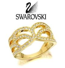 NIB Swarovski PROTECT RING 52 6 Small S GOLD Tone CLEAR Crystals Jewelry