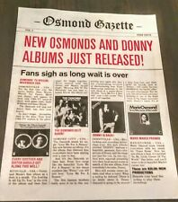Osmond Gazette Volume 1 Unique Official Fan Club Newspaper Very Rare First Issue