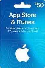 $50 App Store & iTunes Gift Card, Full Value, Panel Still Covered on Back (Blue)
