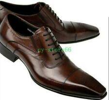 Mens Leather Pointed Toe Dress Formal Lace Up Wing Tip Brogue Shoes brown US 10