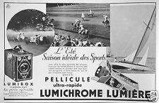 PUBLICITÉ 1933 PELLICULE ULTRA-RAPIDE LUMICHROME LUMIÈRE - VOILIER - ADVERTISING