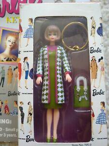 New VINTAGE Basic Fun Movable Retro Barbie Keychain KeyRing Poodle Parade Mattel