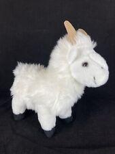 Fiesta White Goat Horns Black Hooves L48838 Plush Stuffed Animal Standing 11 In