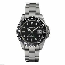 Parnis 40mm Sapphire Glass Automatic Men's Ceramic Bezel Green GMT Watch