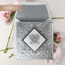 Silver Laser Cut and Glitter Lace Pocketfold Wedding Invitation -*SAMPLE ONLY*