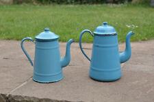 2x Vintage old enamel metal jug kettle pot  jugs kettles pots