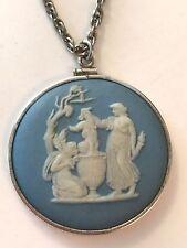 """❤️VTG Wedgwood Jasperware Large Necklace ~ 1⅝""""  Cameo Pendant Authentic Signed❤️"""