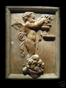 Angel-Eros-Cupid Cherub stone relief wall plaque art sculpture home garden decor